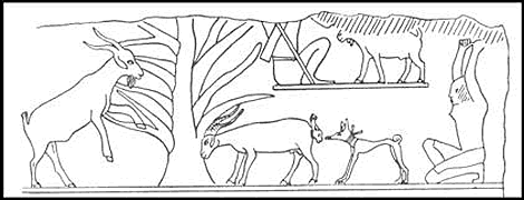 Tomb engraving of dog and goats