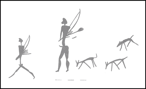 Hunters carrying bows, arrows, quivers and a brush or fly-switch, accompanied by dogs