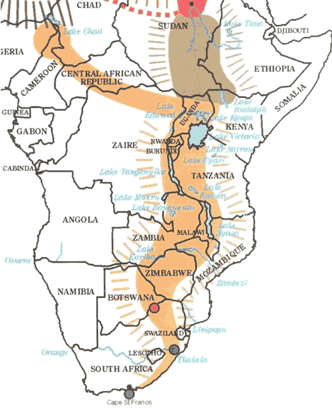Map showing migration route of the Bantu through the Great Rift Valley